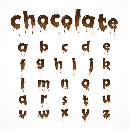 Gesmolten chocolade alfabet op een witte achtergrond. Kleine letters. 26 kleine letters van het Engels alfabet