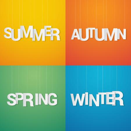 papier a lettre: Quatre saisons. Printemps, �t�, automne et hiver. Lettre de papier accrocher la cha�ne sur fond de couleur. Illustration