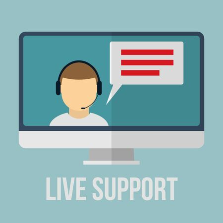 24x7: Technical support concept with human icon and monitor. Flat design vector illustration.