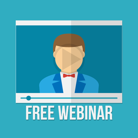 webinar: Online education concept. Webinar. Video player with men icon. Illustration in flat style.