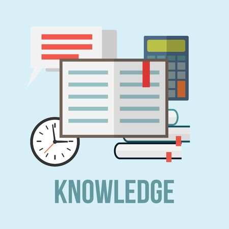 knowledge concept: Knowledge concept. Books, calculator,clock, letter and bubble speech. Flat style vector illustration.