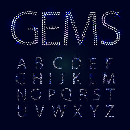 diamond letters: Gems alphabet. All capital letters. Shiny diamond font