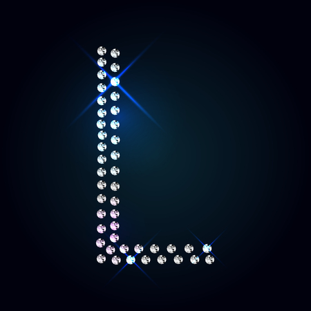 tipos de letras: Gemas letra mayúscula L. Fuente Diamante brillante.