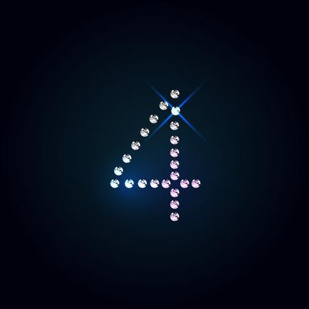 bijou: Gems 4 number. Shiny diamond font over dark