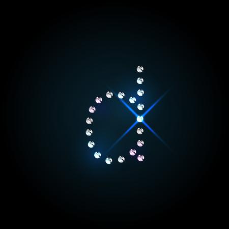 bijou: Gems small d letter. Shiny diamond font.