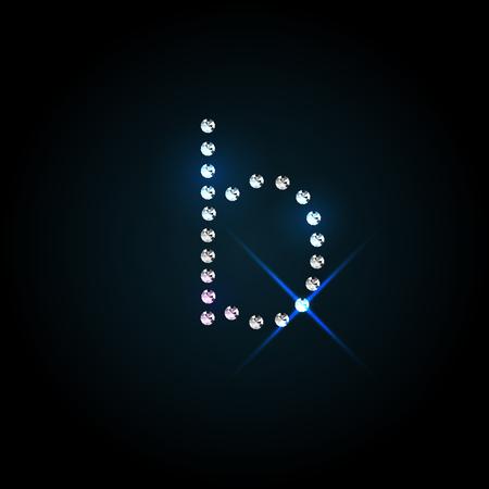 bijou: Gems small b letter. Shiny diamond font. Illustration