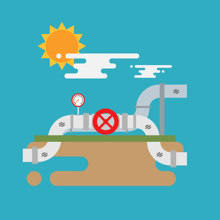 underground: Vector concept of underground oil pipes network with valve. Flat vector illustration Illustration