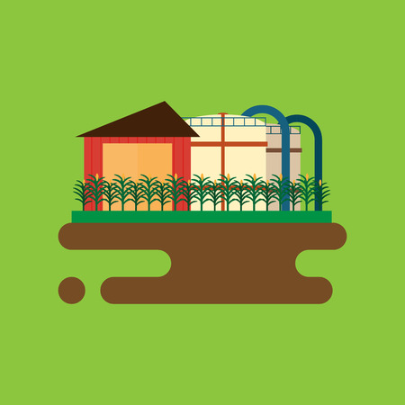 natural resources: Vector concept of biofuels refinery plant for processing natural resources like biodiesel. Flat style illustration Illustration
