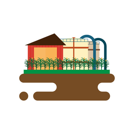 biodiesel plant: Vector concept of biofuels refinery plant for processing natural resources like biodiesel. Flat style illustration Illustration