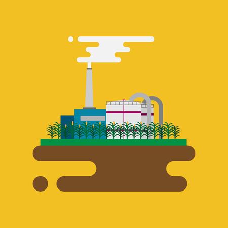 ressources naturelles: Vecteur concept de l'usine de biocarburants raffinerie pour transformer les ressources naturelles comme le biodiesel. Le style plat illustration
