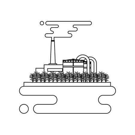 pollutant: Vector concept of biofuels refinery plant for processing natural resources like biodiesel. Thin line style illustration Illustration