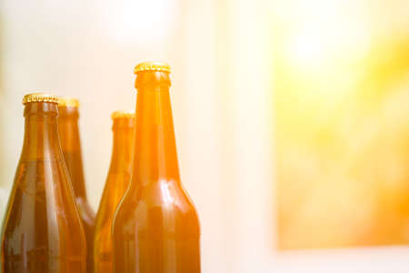 refreshment: Close up of beer bottles, cold refreshment