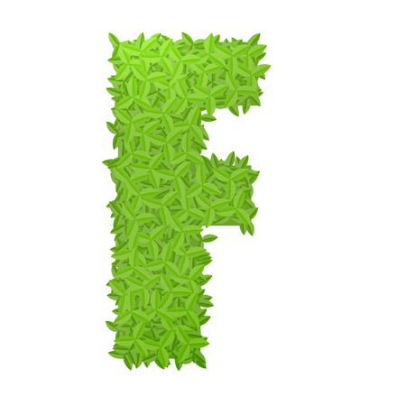uppercase: Vector illustration of uppercase letter F consisting of green leaves