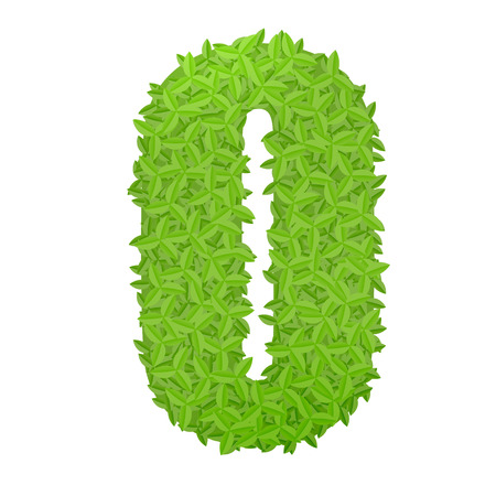 uppercase: Vector illustration of uppercase letter O consisting of green leaves