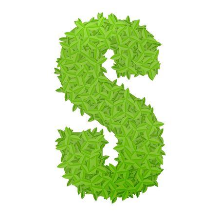 letter s: Vector illustration of uppercase letter S consisting of green leaves