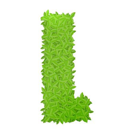 uppercase: Vector illustration of uppercase letter L consisting of green leaves Illustration