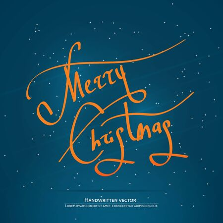 Christmas lettering. Handwritten vector calligraphy at blue background with snowflakes.