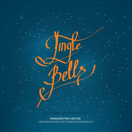 Jingle bells lettering. Handwritten vector calligraphy at blue background with snowflakes.