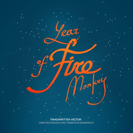 Year of fire monkey lettering.  Handwritten vector calligraphy. Illustration