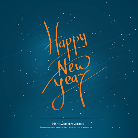 upmarket: Happy new year lettering. Handwritten vector calligraphy at blue background with snowflakes.