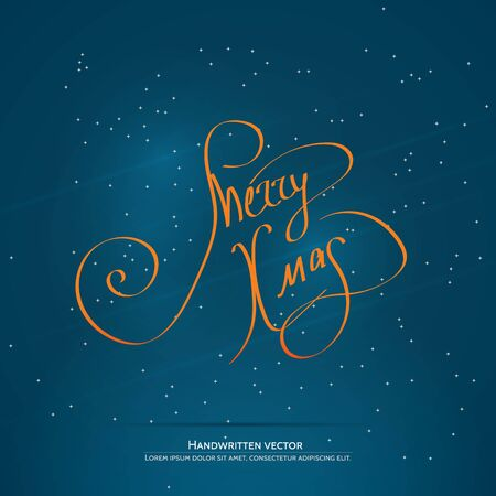 salutations: Merry Xmas lettering. Handwritten vector calligraphy at blue background with snowflakes. Illustration