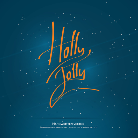 Holly Jolly lettering. Handwritten vector calligraphy at blue background with snowflakes.