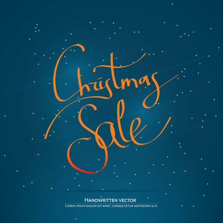 Christmas sale lettering. Handwritten vector calligraphy at blue background with snowflakes. Illustration
