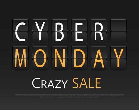 retail display: Cyber monday, mechanical panel letters. Typography, font, type vintage retro. Illustration
