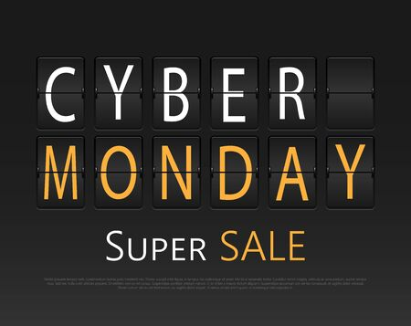 agenda: Cyber monday, mechanical panel letters. Typography, font, type vintage retro. Illustration