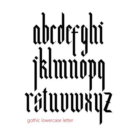 Fuente gótica moderna Blackletter. Todas las letras minúsculas Foto de archivo - 47849068