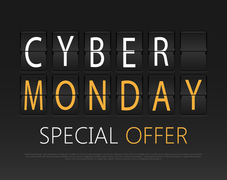 Cyber monday, mechanical panel letters. Typography, font, type vintage retro. Illustration