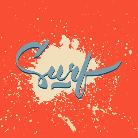 ink spot: Surf hand-lettering with color ink spot over red background Illustration