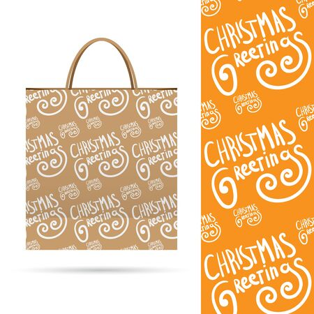 packed: Christmas greetings. Holiday pattern over paper package.  Seamless pattern. Vector  File contains seamless patterns under clipping mask and in swatches. Illustration