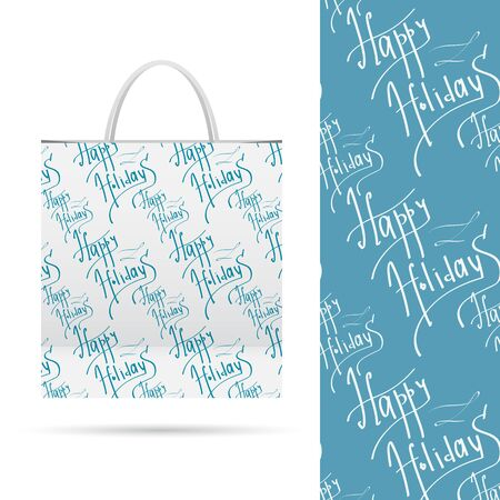 sample environment: Happy holiday. Holiday pattern over paper package.  Seamless pattern. Vector  File contains seamless patterns under clipping mask and in swatches. Illustration