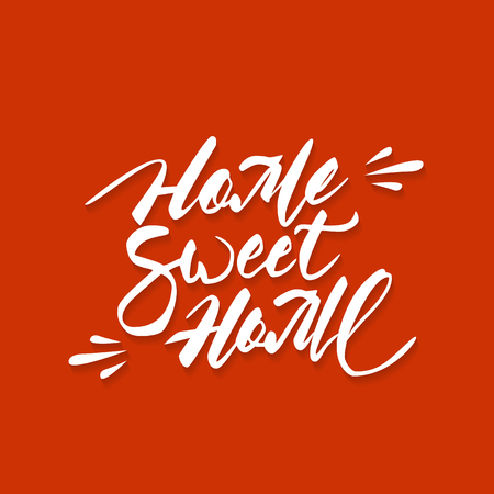 homely: Home sweet home hand lettering with brush. Hand drawn inspiration quote in modern calligraphy style with shadow over red background.