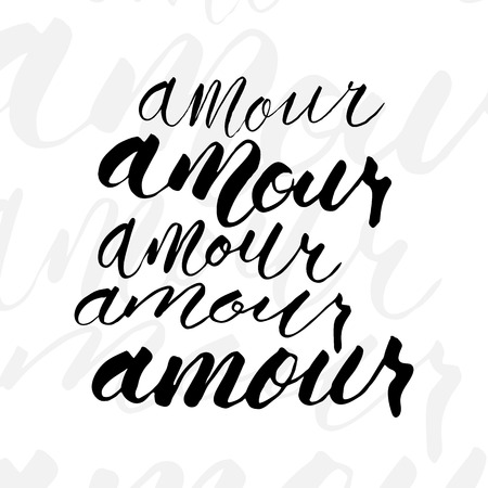 negligent: Five variations writing of Amour word. Write with brushpen in modern   calligraphic style. Illustration