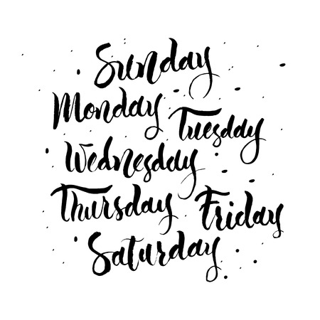 week: Handwritten names of the days of the Week. Sunday, Monday, Tuesday, Wednesday,  Thursday, Friday, Saturday. Calligraphy words for calendars and organizers.