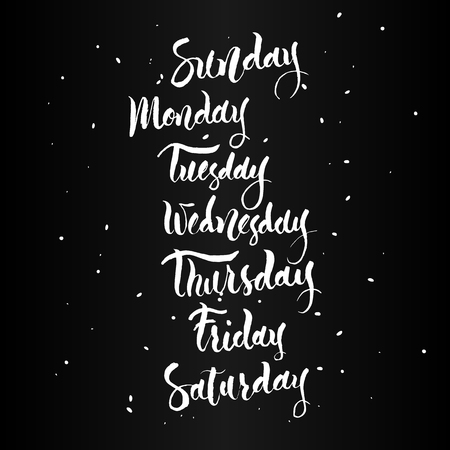 tuesday: Handwritten names of the days of the Week. Sunday, Monday, Tuesday, Wednesday,  Thursday, Friday, Saturday. Calligraphy words for calendars and organizers.