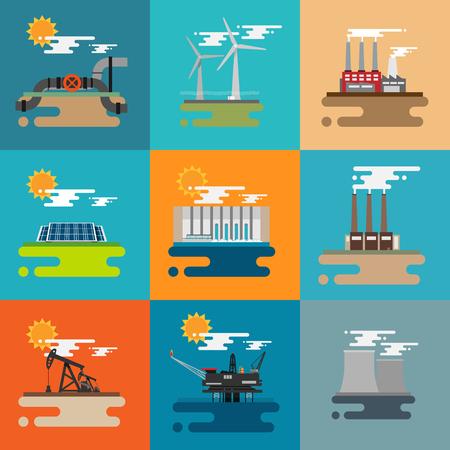 hydroelectric: Modern industrial flat buildings set.  Pipeline, Wind power, Factory, Sun power, Hydroelectric, Oil, Nuclear plant.