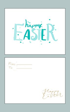 writting: Easter greetings card with handwriting easter word.  Vector card design.