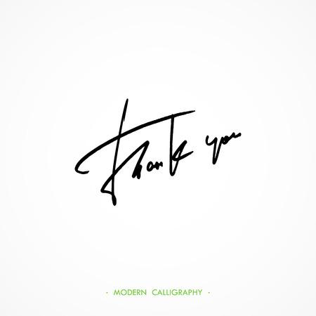 writes: Thank You calligraphy. Thin pen writes letters.