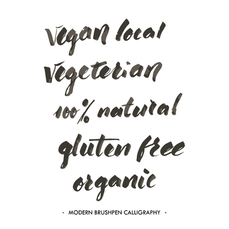 vegeterian: Vegan, local, vegeterian, natural, gluten free, organic words write with brushpen in modern calligraphy style.
