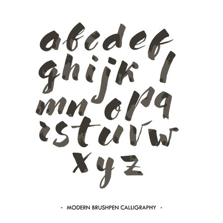 abc calligraphy: Modern ink Alphabet font. ABC painted letters with brush in modern calligraphy style Illustration