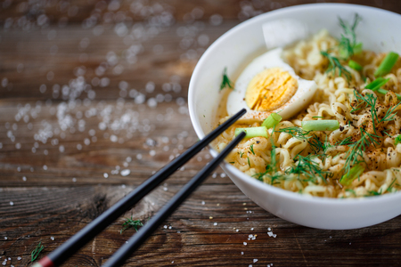 asian noodles: Asian noodles with fresh green onion and boiled egg Stock Photo