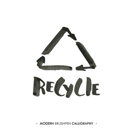 recycling symbol: Recycle word and painted with brush in modern calligraphy style