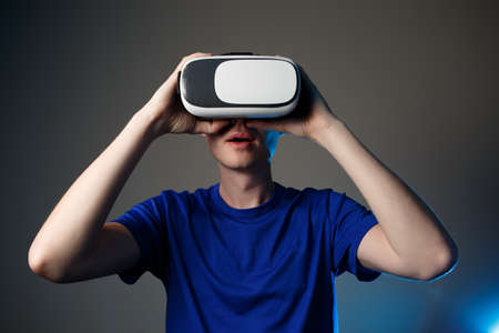 new idea: Man wearing virtual reality goggles. Vr glasses concept