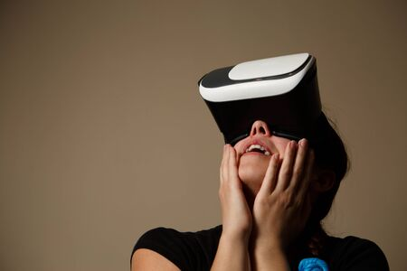 notable: Woman with glasses of virtual reality, VR glasses concept