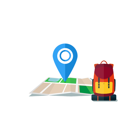 notable: Blue map pointer with map and backpack icon. Travel concept. Illustration