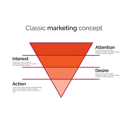 Classic marketing concept. Funnel symbol. Infographic or web design element. Template for marketing, conversion or sales. Colorful vector illustration.  イラスト・ベクター素材