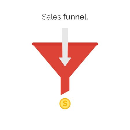 data archiving: Sales lead funnel flat icon with arrows for presentation apps and websites